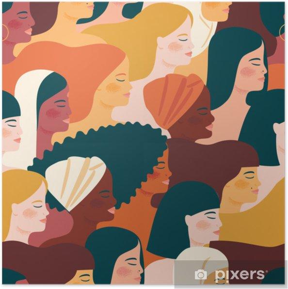 Plakat Międzynarodowy Dzień Kobiet. wektor wzór z kobietami różnych narodowości i kultur. - Ludzie