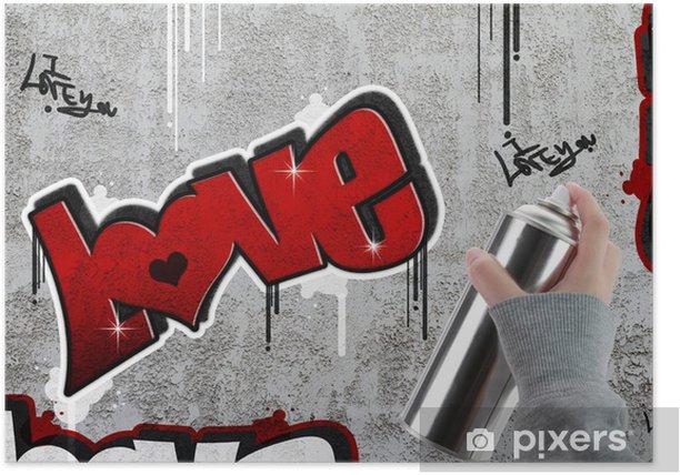 Plakat Miłość graffiti na ścianie betonowej - Sztuka i twórczość
