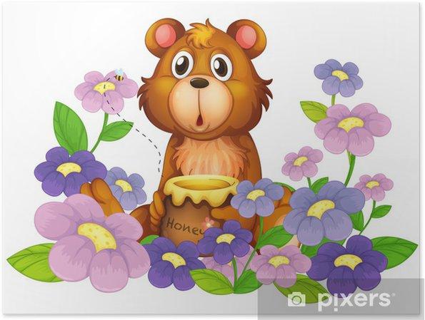12dbe1fd3bb36f Plakat Miś trzyma miód w ogrodzie kwiatowym • Pixers® • Żyjemy by ...