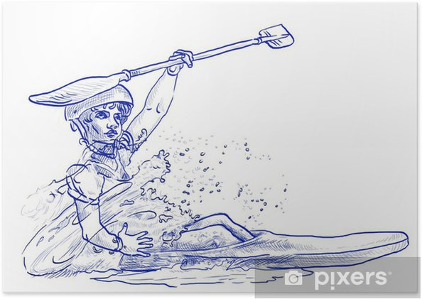 Plakat Mistrz w kajakarstwie - rysunek odręczny - Sporty indywidualne