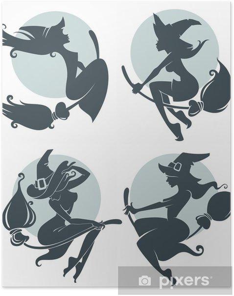 Plakát Mladé šťastné a atraktivní čarodějnice, vektorové kolekce - Mezinárodní svátky