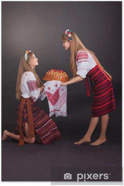 Plakát Mladé ženy v ukrajinské oblečení, s věncem a kulatý bochník - Žena