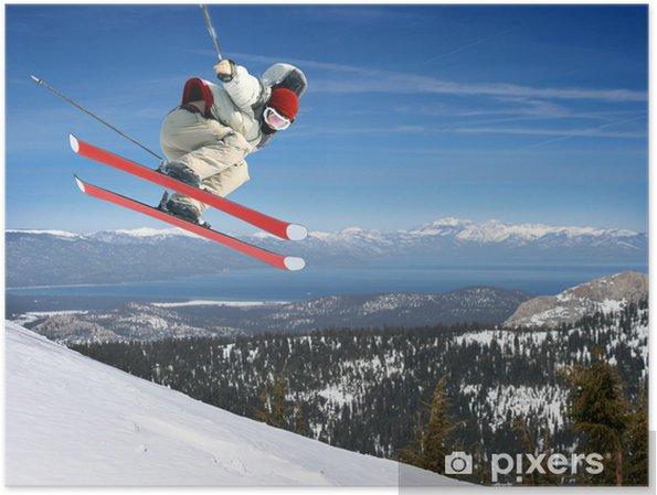 Plakát Mladý muž vyskočil vysoko v Lake Tahoe střediska - Témata