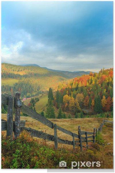 Plakát Mlhavé ráno v létě v horách - Roční období