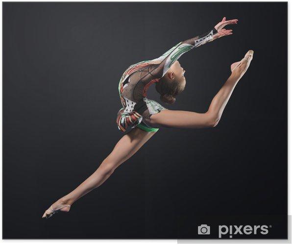 Plakat Młoda kobieta w garnitur gimnastyczka stwarzających - Tematy