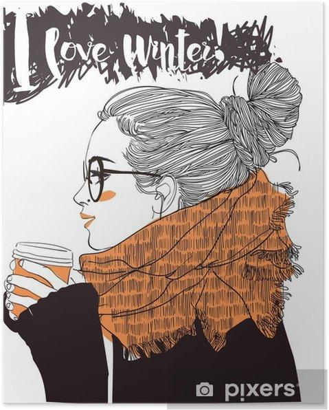 Plakat Młoda piękna kobieta z filiżanką kawy - Ludzie