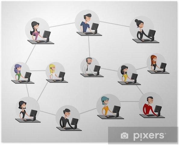 Plakat Młodzi ludzie, połączone za pomocą komputera. Sieć społeczna. - Internet i sieci