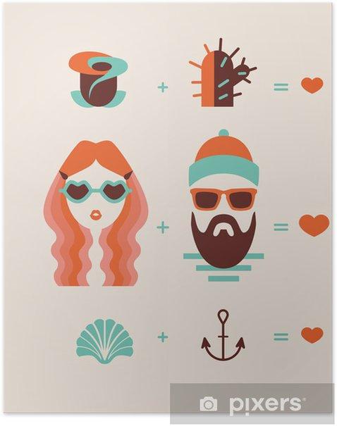 Plakat Moda mężczyzna i kobieta para w miłości - Pary