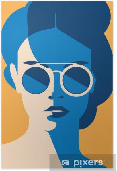 Plakat Moda portret model dziewczyny z okulary. retro modne kolory plakatu lub ulotki. - Styl życia