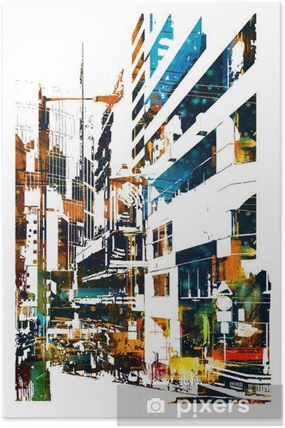 Plakat Modern Urban miasta, ilustracja malarstwo - Krajobrazy