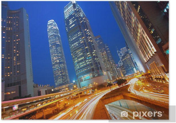 Plakat Modern Urban miasta z Freeway ruchu w nocy, hong kong - Pejzaż miejski