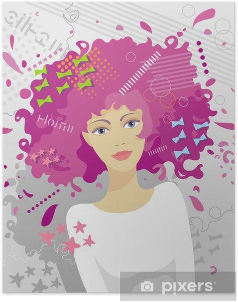 Plakat Modna fryzura damska - Kobiety