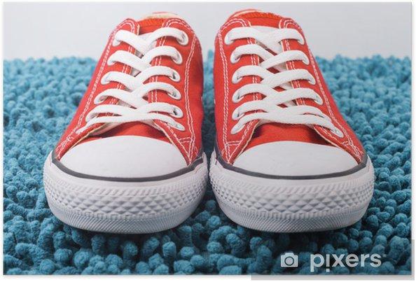 Plakat Modne czerwone trampki Converse - Moda
