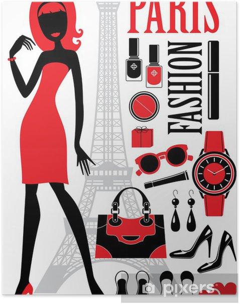 Plakat Modny zestaw z sylwetkami kobiet - Moda