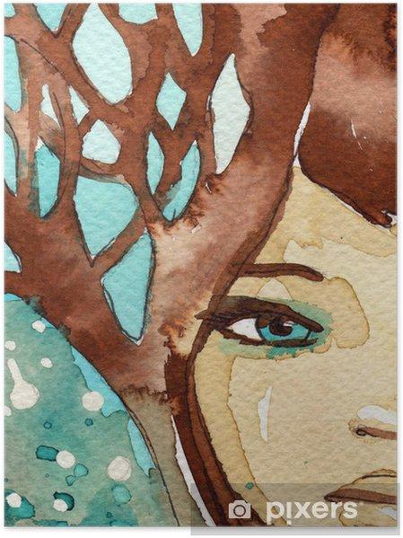 Plakát Modrá mladá dívka - Žena