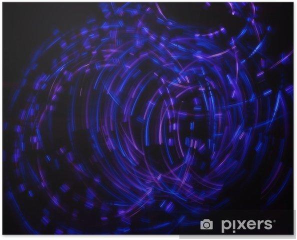Plakát Modrá neonová světla - Abstraktní