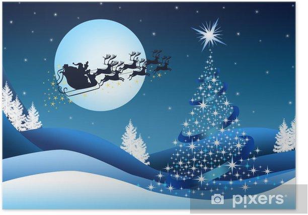 Plakát Modré pozadí Vánoce se Santa Clausem - Mezinárodní svátky