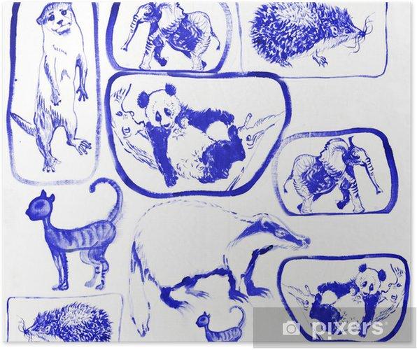 Plakat Modre Zvirata Kresba Na Platne Pixers Zijeme Pro Zmenu
