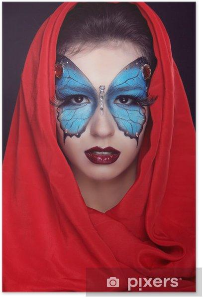 Plakat Mody. Makijaż piękny motyl na twarzy kobiety. Art. P - Kobiety