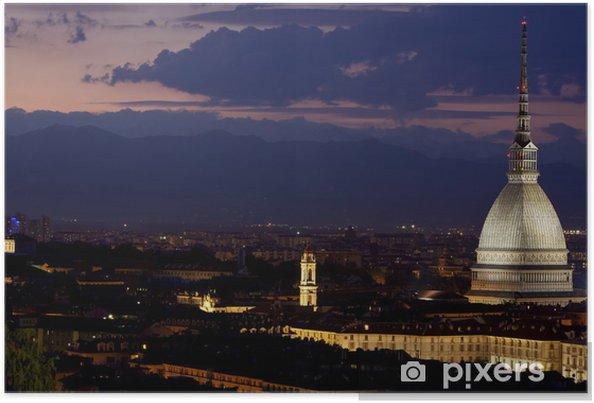 Plakat Mole w nocy, Turyn (Torino), Włochy - Europa