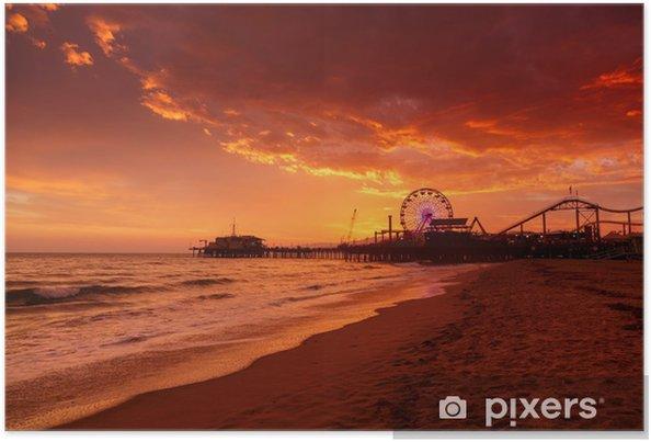 Plakat Molo w Santa Monica na zachód słońca - Morze i ocean