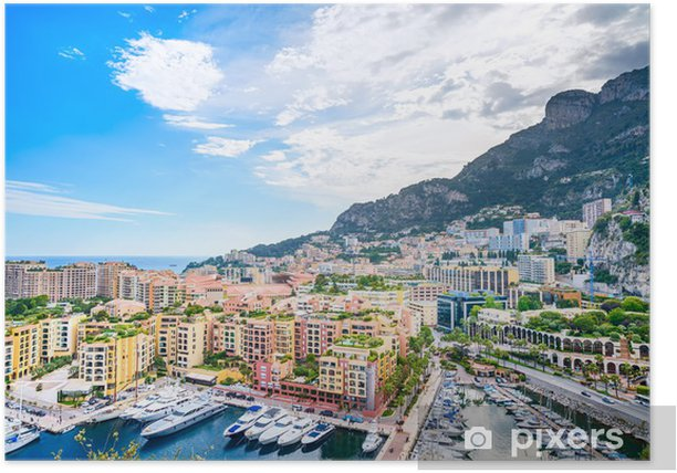 Plakat Monaco Montecarlo aerial pejzaż widok. Azure coast. Francja - Tematy