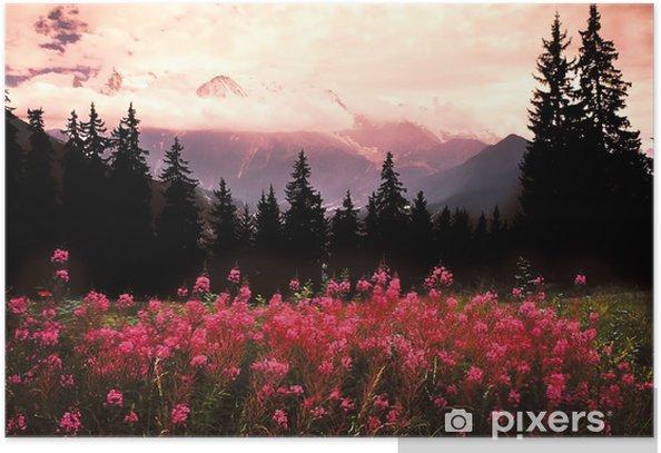 Plakat Mont Blanc, najwyższej góry we Francji i Europie. - Tematy