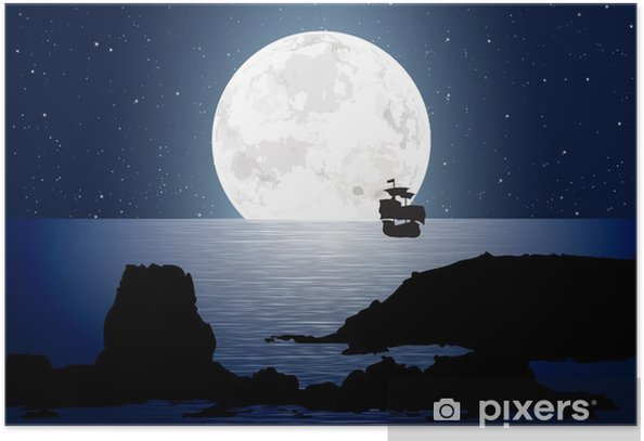Plakat Moonlight Z Sailboat - Niebo