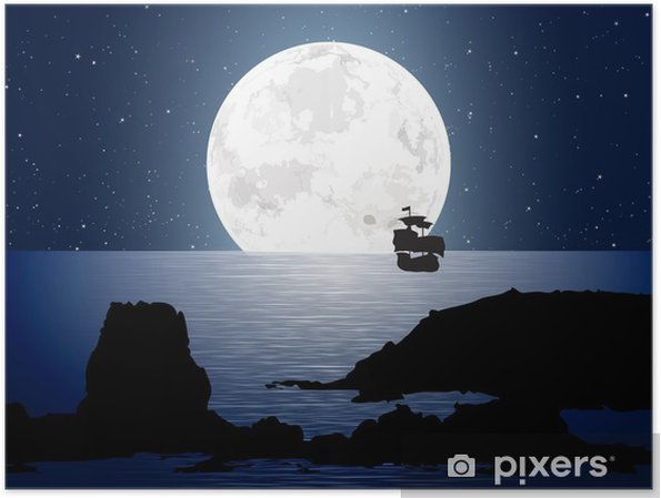 Plakat Moonlight Z Sailboat - Niebo