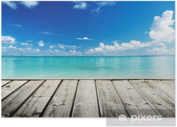 Plakat Morze Karaibskie i drewniane platformy - Tematy
