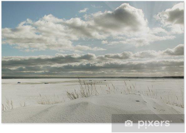 Plakat Morze, niebo i śnieg. - Pory roku