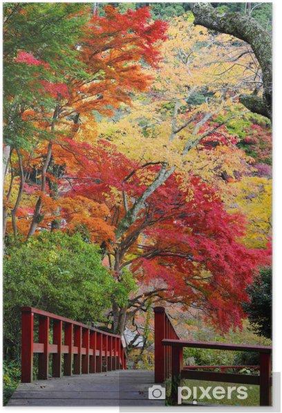 Plakat Most i czerwone liście jesienią - Pory roku