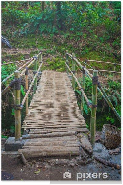 Plakat Most w deszczu las bambusowy - Woda