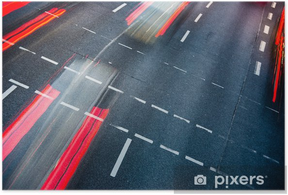 Plakat Motion niewyraźne ruchu drogowego miasta (kolor stonowanych obraz) - Tematy