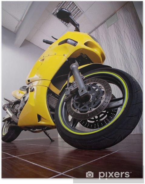 Plakat Motocykl w garażu - Transport drogowy