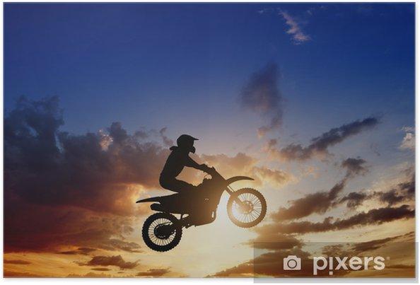 Plakat Motorcircle sylwetka jeźdźca - Sporty ekstremalne