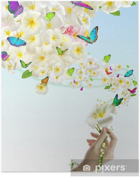 Plakat Motyl na kwiatach - Kwiaty