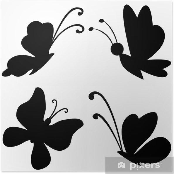 Plakat Motyle silhouettes - Cuda natury