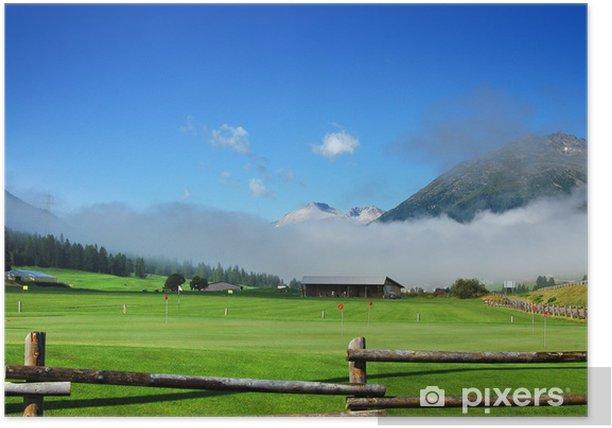 Plakat Mountain Golf - Zuoz, Szwajcaria Engadina - Góry