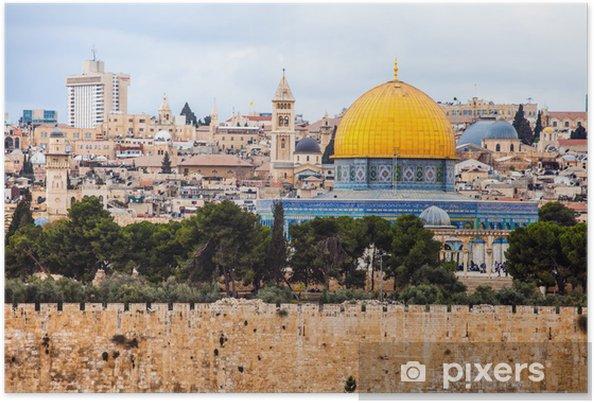 Plakat Mousque z Al-Aqsa w Stare Miasto - Jerusalem, Izrael - Bliski Wschód