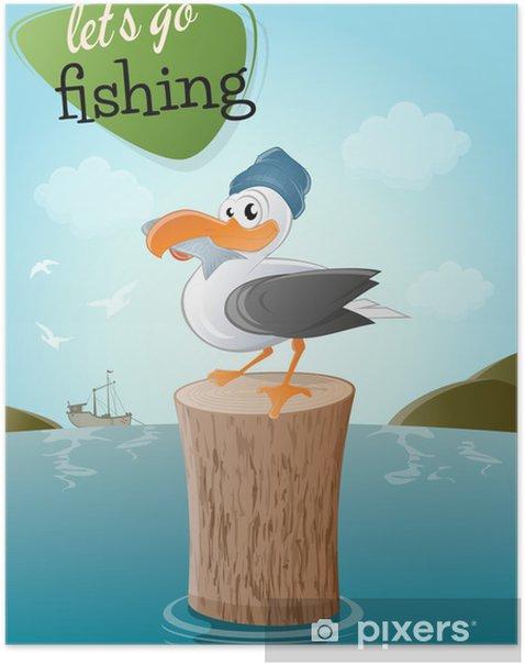Plakat MoWe ptaka bardziej kreskówka Fisch - Ptaki