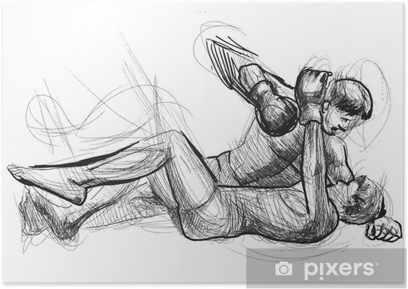 Plakát Muay Thai (bojové umění z Thajska) - ruční kreslení do vektoru - Extrémní sporty