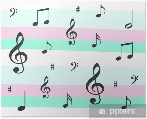 Plakat Muzyczne Notatki Na Tle Różowy I Niebieski