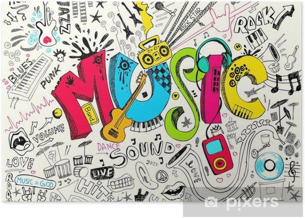 Plakat Muzyka doodle - Hip Hop