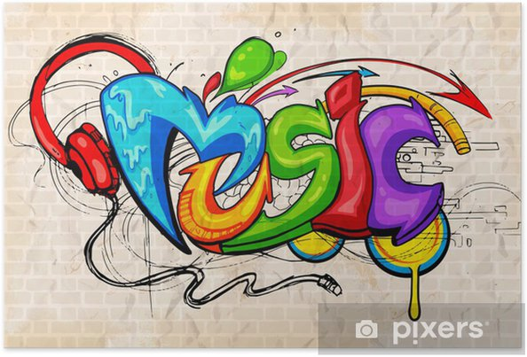 Plakat Muzyka w tle w stylu graffiti - Tematy