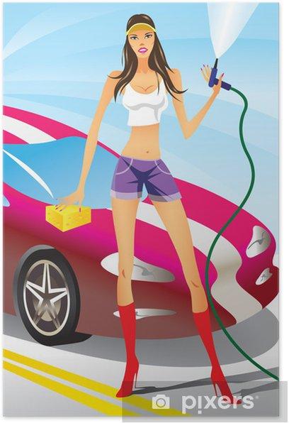Plakat Myjnia samochodowa - sexy modelka - Sporty indywidualne