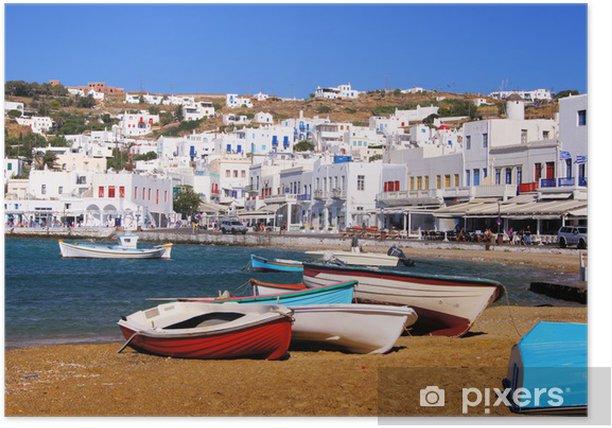 Plakat Mykonos, widok na port, Grecja - Tematy