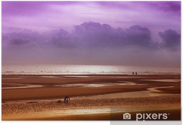Plakat Na plaży w czasie odpływu Breton - Europa
