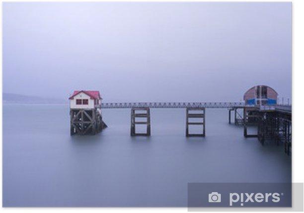Plakát Na šířku Panorama dlouhé expozice klidný obraz Molo Mumbles - Voda