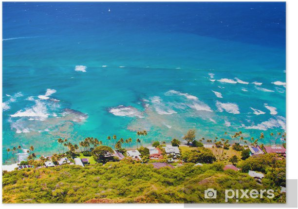 Plakat Nad brzegiem oceanu dom w Oahu, Hawaje - Tematy